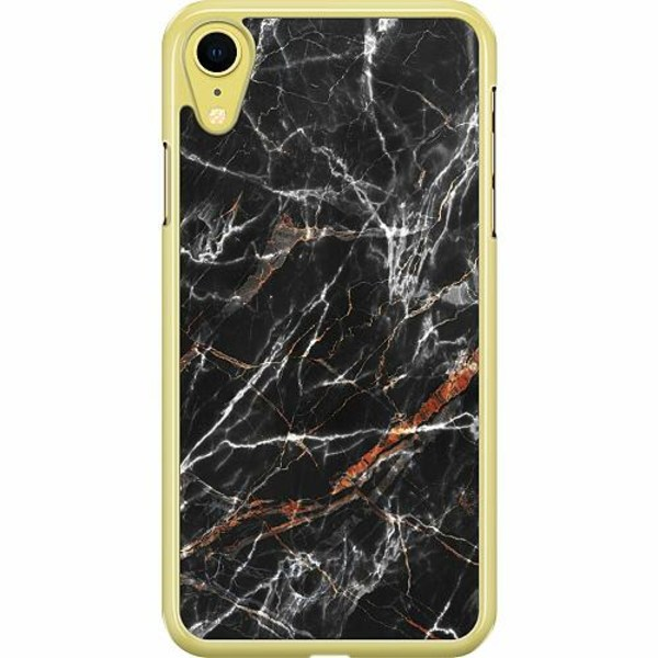 Apple iPhone XR Hard Case (Transparent) BL4CK MARBLE