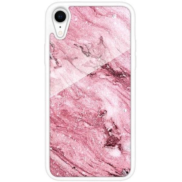 Apple iPhone XR Vitt Mobilskal med Glas Rosa