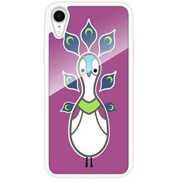 Apple iPhone XR Vitt Mobilskal med Glas Peacock