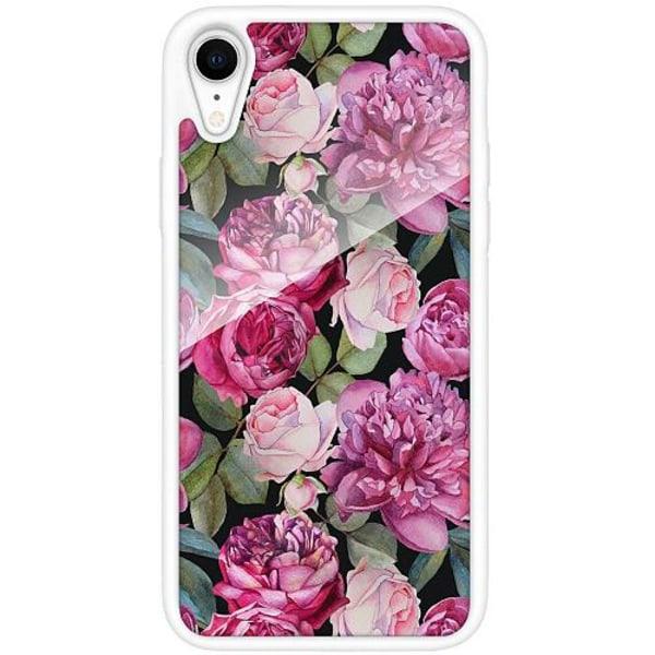 Apple iPhone XR Vitt Mobilskal med Glas Blommor