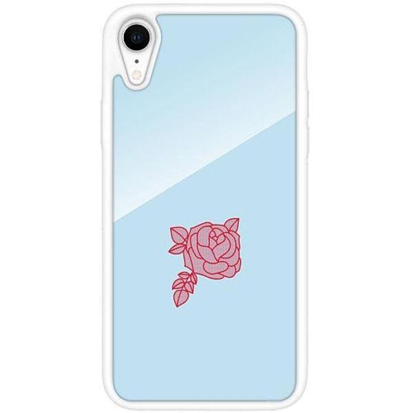 Apple iPhone XR Vitt Mobilskal med Glas Rose
