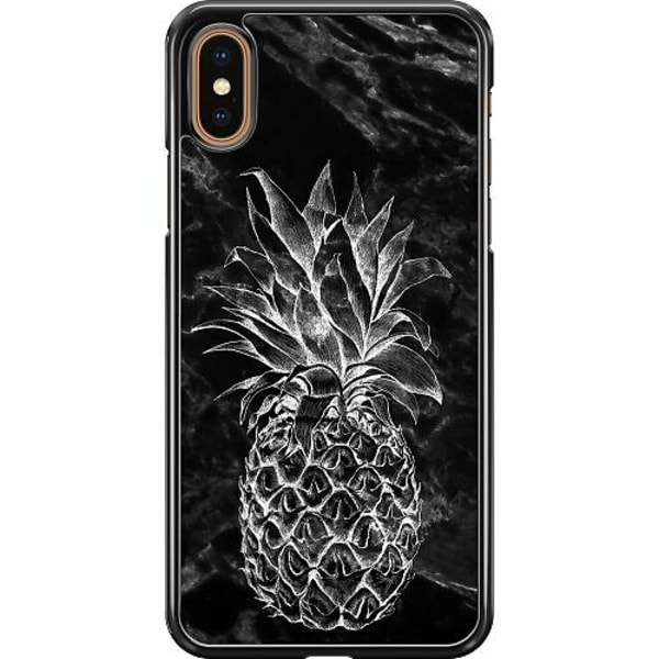 Apple iPhone XS Max Hard Case (Svart) Marmor Ananas