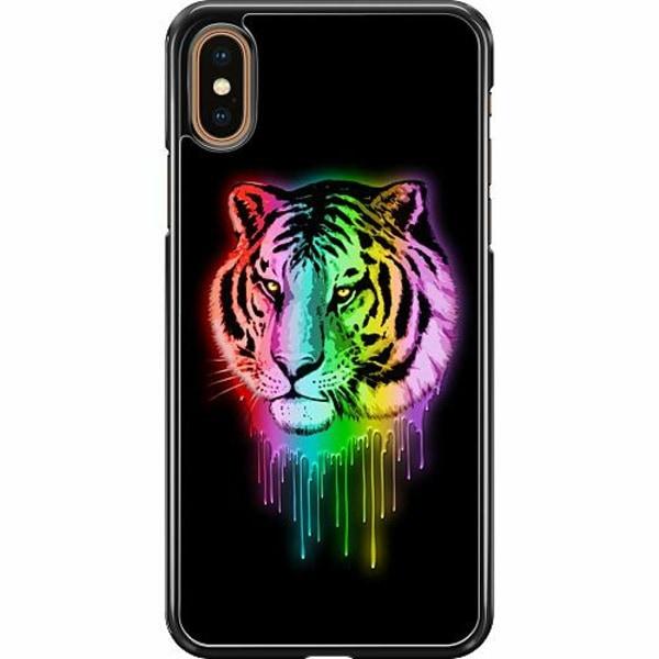 Apple iPhone XS Max Hard Case (Svart) Neon Tiger