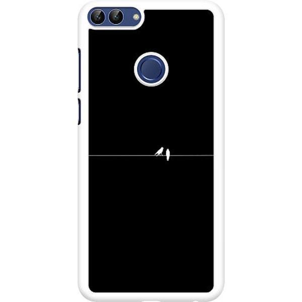 Huawei P Smart (2018) Hard Case (Vit) Minimalist Birds Black
