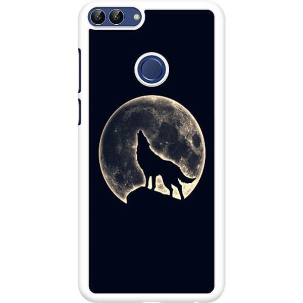 Huawei P Smart (2018) Hard Case (Vit) Howling Moon Wolf