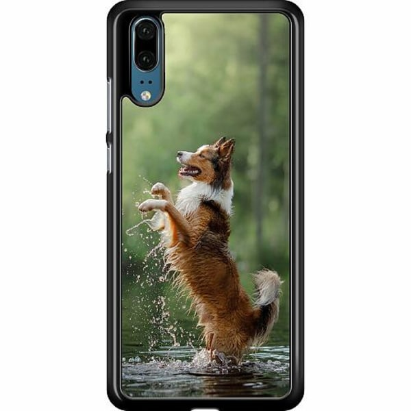 Huawei P20 Hard Case (Black) Happy Dog