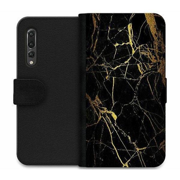 Huawei P20 Pro Wallet Case Marble Black&Gold