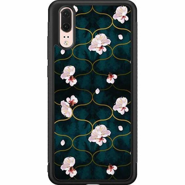 Huawei P20 Soft Case (Svart) Blommor