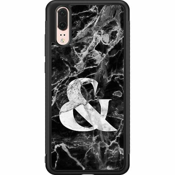 Huawei P20 Soft Case (Svart) Marmor & Svart