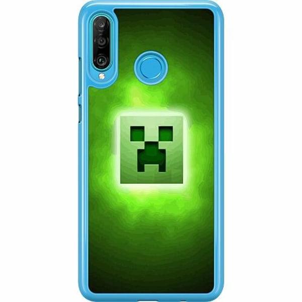 Huawei P30 Lite Hard Case (Transparent) MineCraft Rainbow