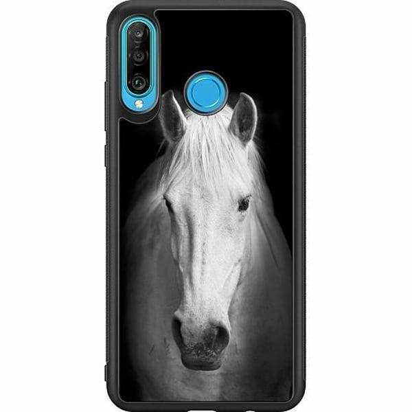 Huawei P30 Lite Soft Case (Svart) Vit Häst