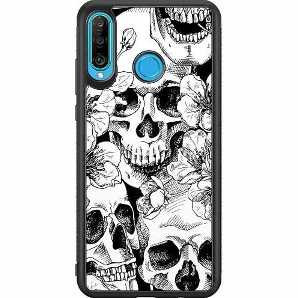 Huawei P30 Lite Soft Case (Svart) White Skulls & Flowers