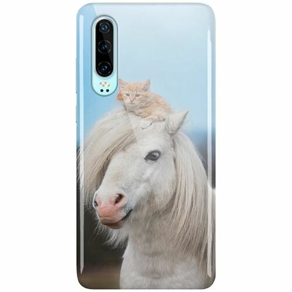 Huawei P30 LUX Mobilskal (Glansig) Horse with CatHat