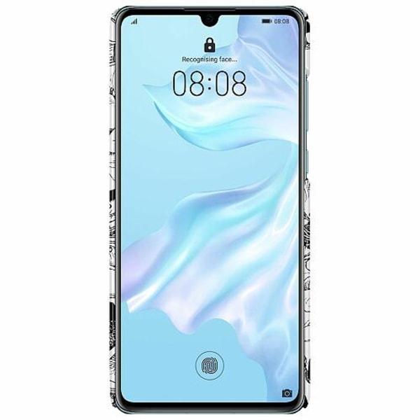 Huawei P30 LUX Mobilskal (Glansig) White Skulls & Flowers