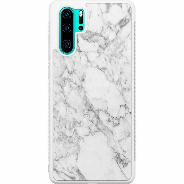 Huawei P30 Pro Soft Case (Vit) Marmor Vit