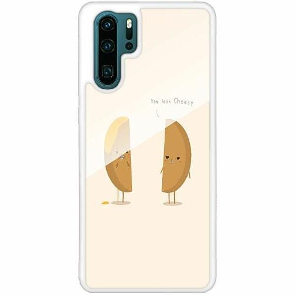 Huawei P30 Pro Vitt Mobilskal med Glas Cheesy