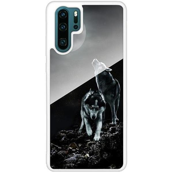 Huawei P30 Pro Vitt Mobilskal med Glas Varg