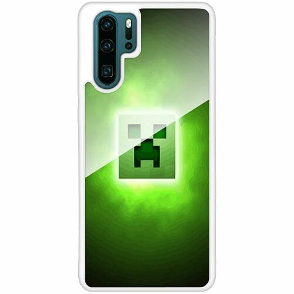 Huawei P30 Pro Vitt Mobilskal med Glas MineCraft Rainbow