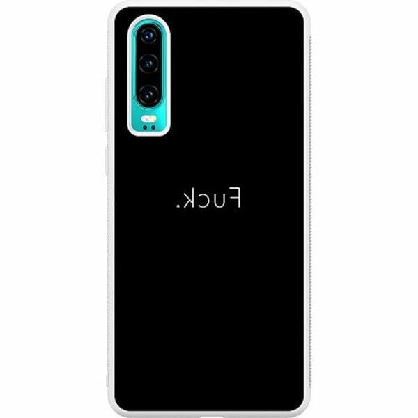 Huawei P30 Soft Case (Vit) >FUCK<