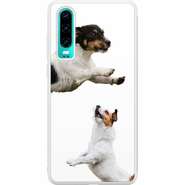 Huawei P30 Soft Case (Vit) Two Jacks on a Russell