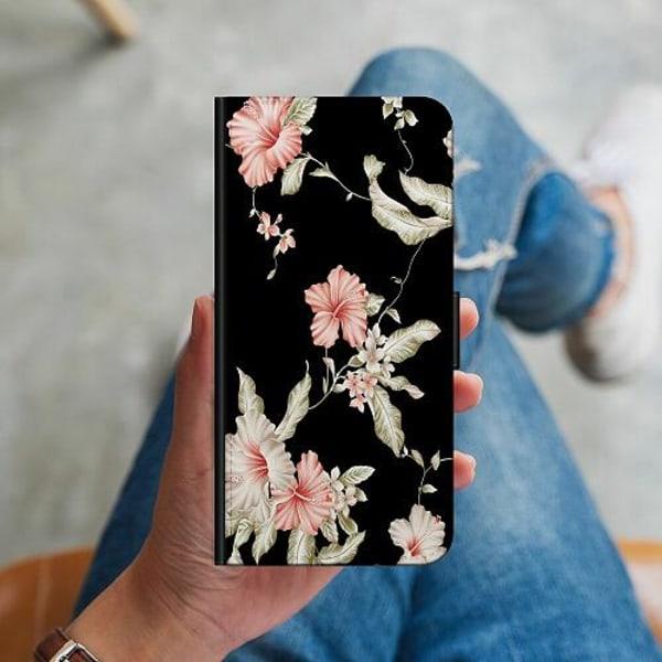 Huawei P40 Lite Plånboksskal Floral Pattern Black