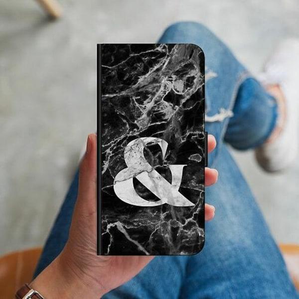 Huawei P40 Lite Plånboksskal Marmor & Svart