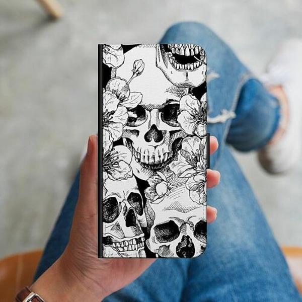 Huawei P40 Lite Plånboksskal White Skulls & Flowers