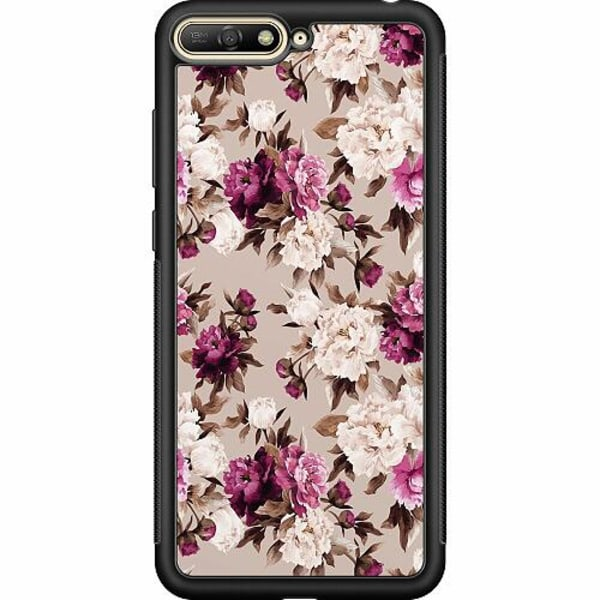 Huawei Y6 (2018) Soft Case (Svart) Blommor
