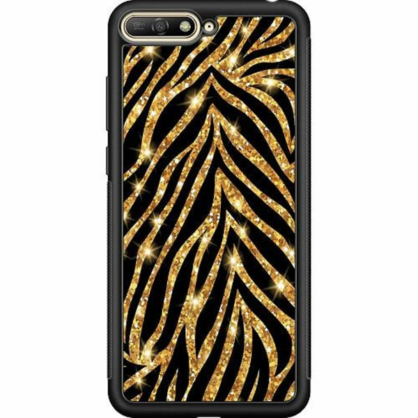 Huawei Y6 (2018) Soft Case (Svart) Gold & Glitter