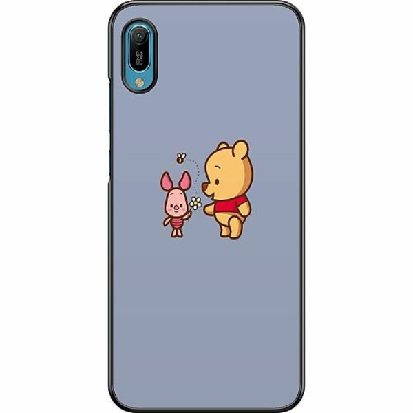 Huawei Y6 (2019) Hard Case (Svart) Happy Bear With Tiny Pig