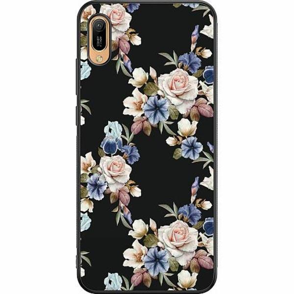 Huawei Y6 (2019) Soft Case (Svart) Blommor