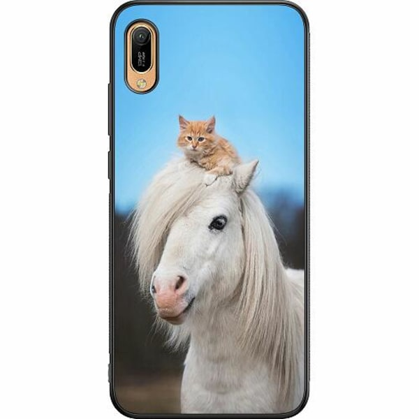 Huawei Y6 (2019) Soft Case (Svart) Horse with CatHat