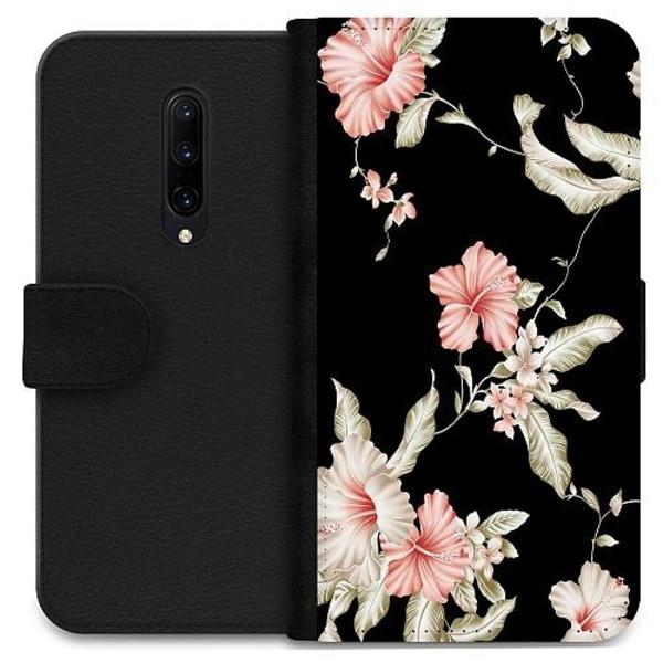 OnePlus 7 Pro Wallet Case Floral Pattern Black