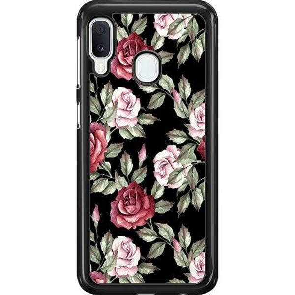 Samsung Galaxy A20e Hard Case (Svart) Blommor