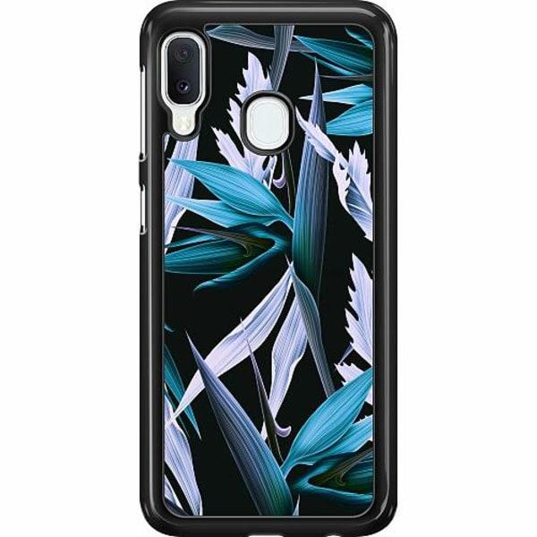 Samsung Galaxy A20e Hard Case (Svart) Blue Flower