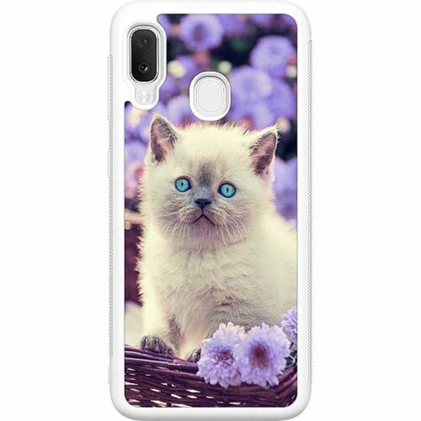 Samsung Galaxy A20e Soft Case (Vit) Cute Kitten