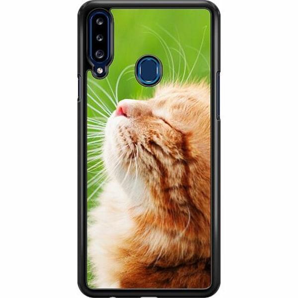 Samsung Galaxy A20s Hard Case (Svart) Cat in the Sun
