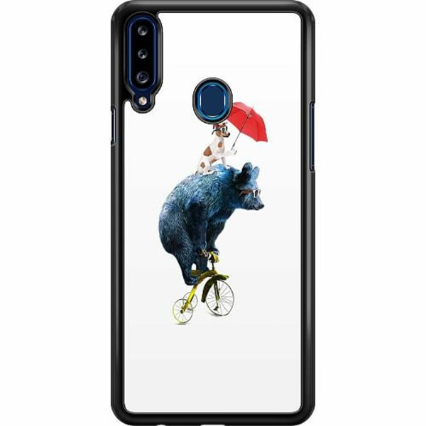 Samsung Galaxy A20s Hard Case (Svart) Cat with Bear Buddy