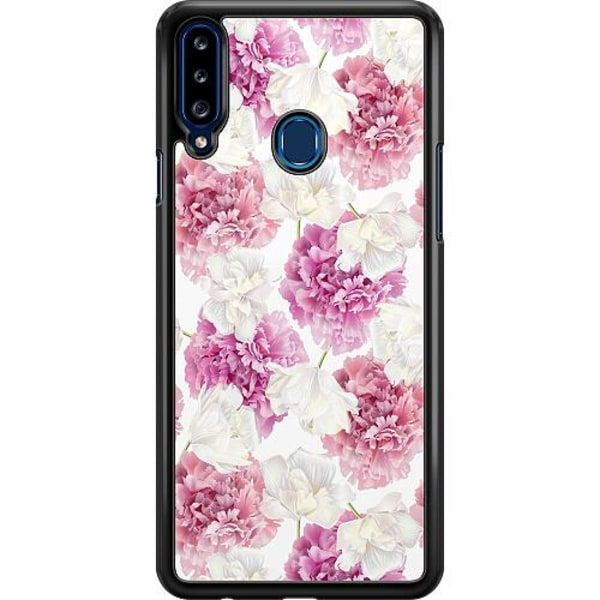 Samsung Galaxy A20s Hard Case (Svart) Blommor