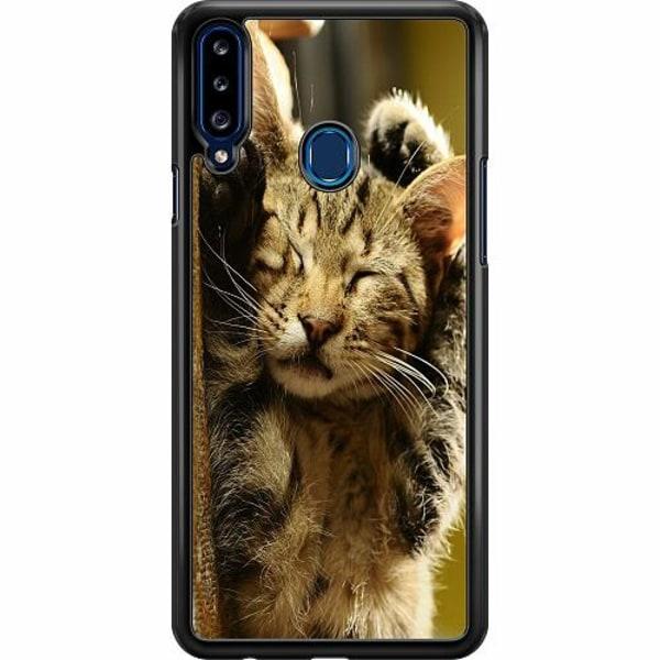 Samsung Galaxy A20s Hard Case (Svart) Sleep Little Cutie Cat