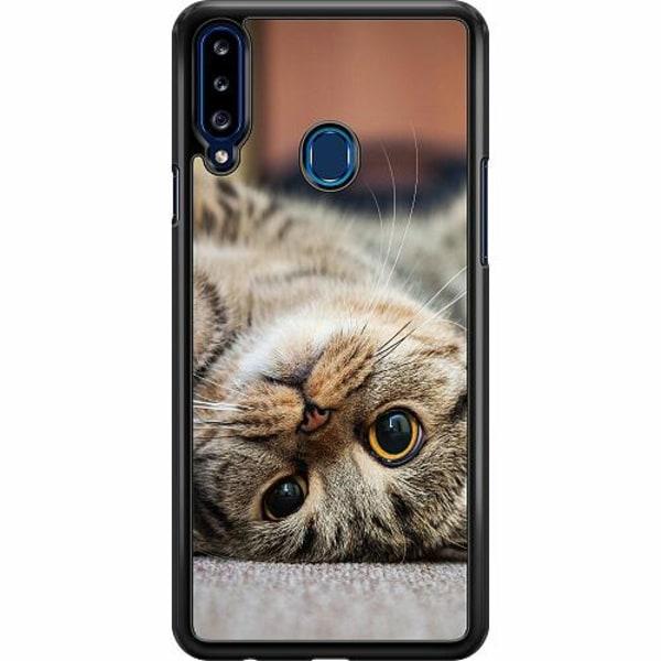 Samsung Galaxy A20s Hard Case (Svart) Upside Down Cute Cat