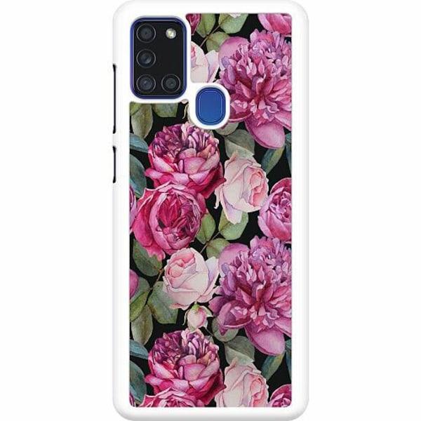 Samsung Galaxy A21s Hard Case (Vit) Blommor