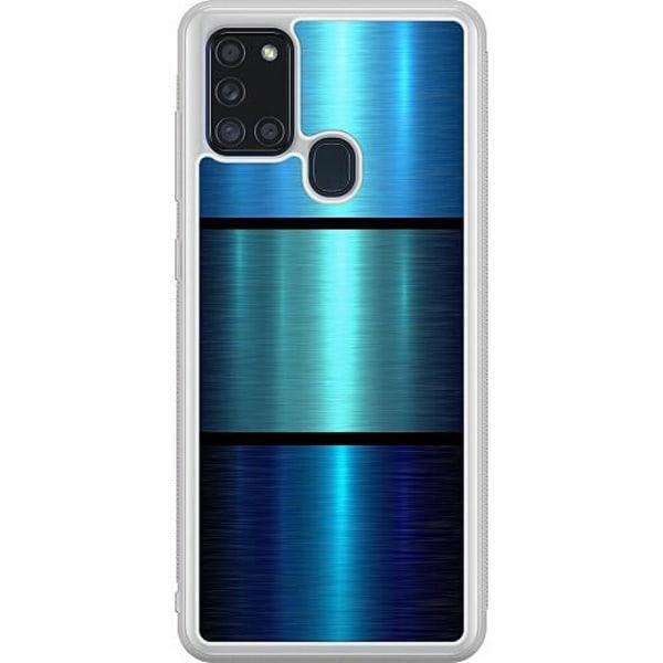 Samsung Galaxy A21s Soft Case (Frostad) Blue Metallic Stripes