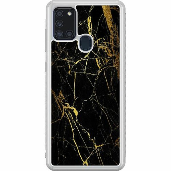 Samsung Galaxy A21s Soft Case (Frostad) Marble Black&Gold