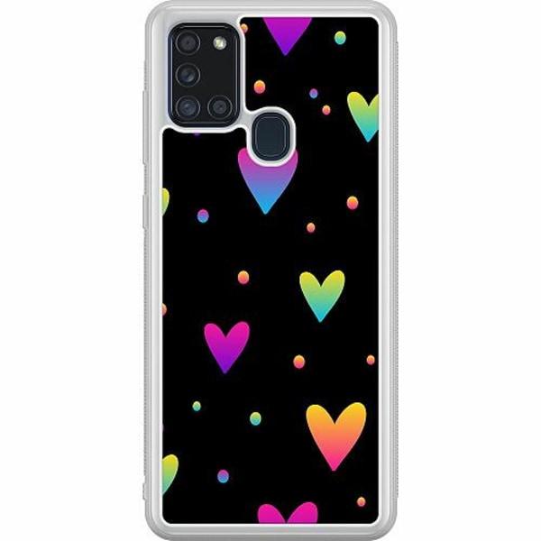 Samsung Galaxy A21s Soft Case (Frostad) Neon Hearts