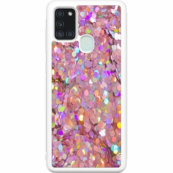 Samsung Galaxy A21s Soft Case (Vit) Glitter
