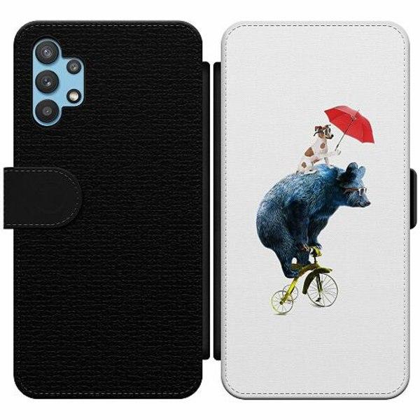 Samsung Galaxy A32 5G Wallet Slim Case Cat with Bear Buddy
