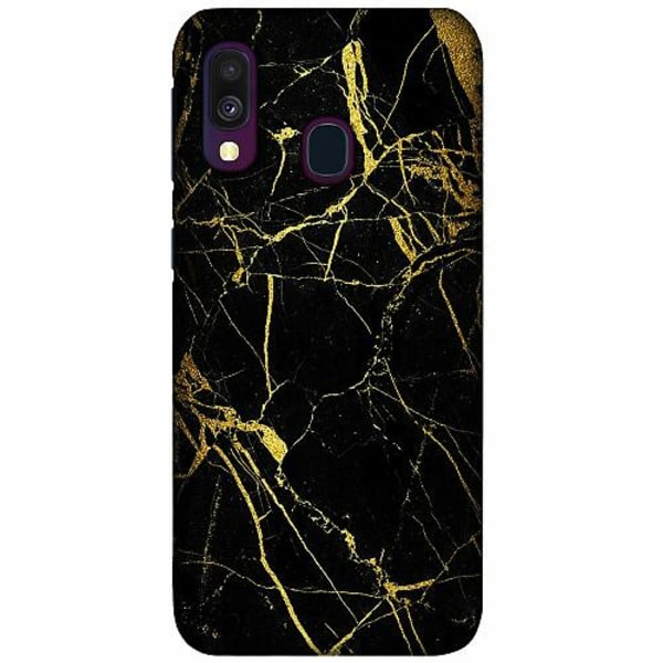 Samsung Galaxy A40 LUX Mobilskal (Matt) Marble Black&Gold