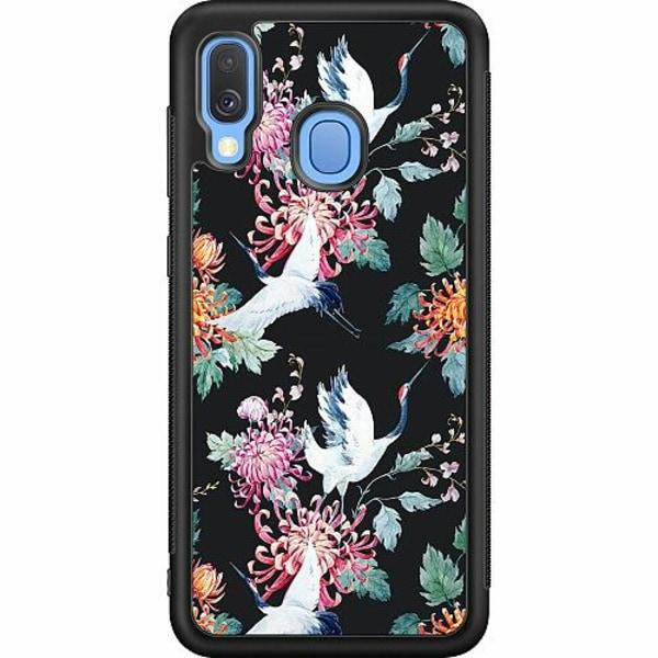 Samsung Galaxy A40 Soft Case (Svart) Botanical Birds