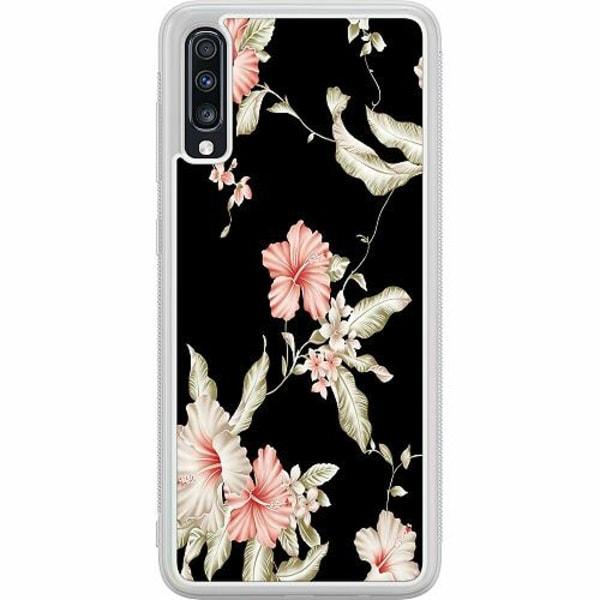 Samsung Galaxy A70 Soft Case (Frostad) Floral Pattern Black